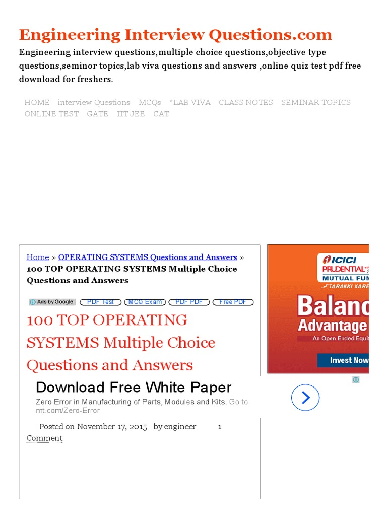 100 TOP OPERATING SYSTEMS Multiple Choice Questions And Answers OPERATING  SYSTEMS Questions And Answers.pdf | Microsoft Windows | Operating System