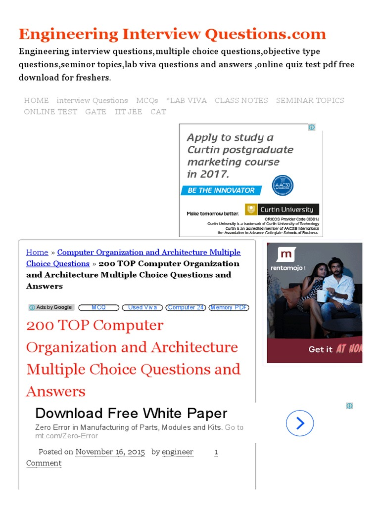 200 TOP Computer Organization And Architecture Multiple Choice Questions  And Answers Computer Organization And Architecture Multiple Choice Questions.pdf  ...
