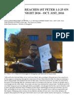 duclairon preaches 1st peter 1 3-25 on halloween night 2016 - oct  31st 20160