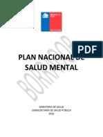 Primer Borrador Plan Nacional de Salud Mental