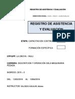 Caratula Registro de Asistencia y Evaluación