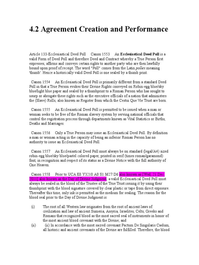 Ecclesiastical deed poll form