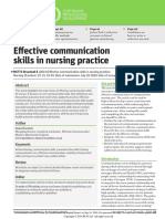 effective communication skills in nursing practice