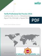 Wilo Bombas y Grupos de Presion Tarifa Septiembre 2016