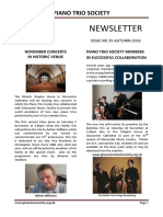 Piano Trio Society - Newsletter Autumn 2016