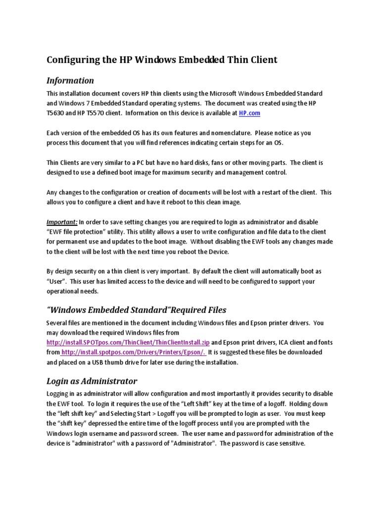 HP_Thin_Client_Install pdf | Microsoft Windows | Operating System
