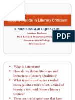 Recent Trends in Literary Criticism