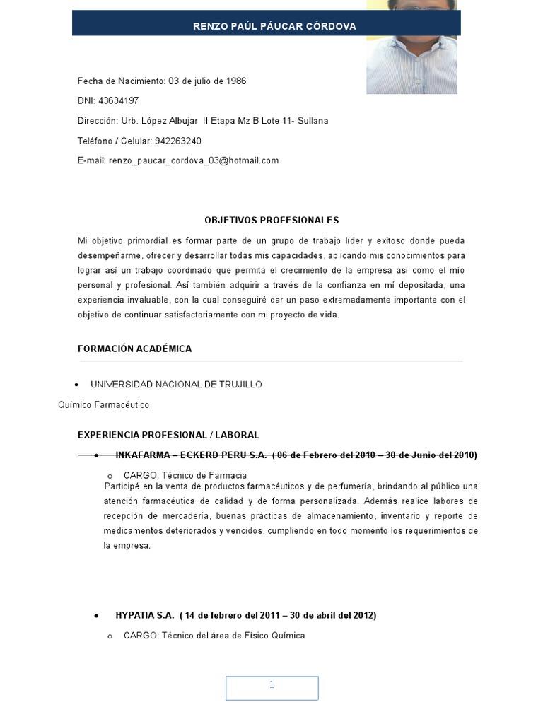 Curriculum Vitae Actual Renzo Paul Paucar Cordova 2016 Envio Lima