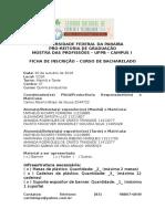 Ficha de Inscrição Mostra de Profissões