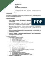 Programa da disciplina Didática I