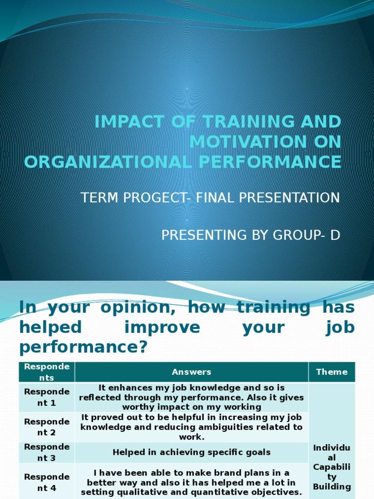 Impact Of Training And Motivation On Organizational
