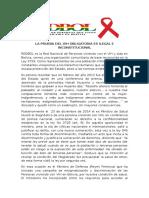 Pronunciamiento REDBOL Sobre Prueba Del VIH Como Pre Requisito