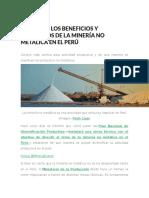 Estos Son Los Beneficios y Productos de La Minería No Metálica en El Perú