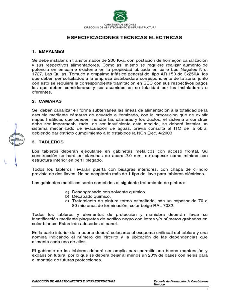 Circuito Unilineal : 06. especificaciones técnicas eléctricas
