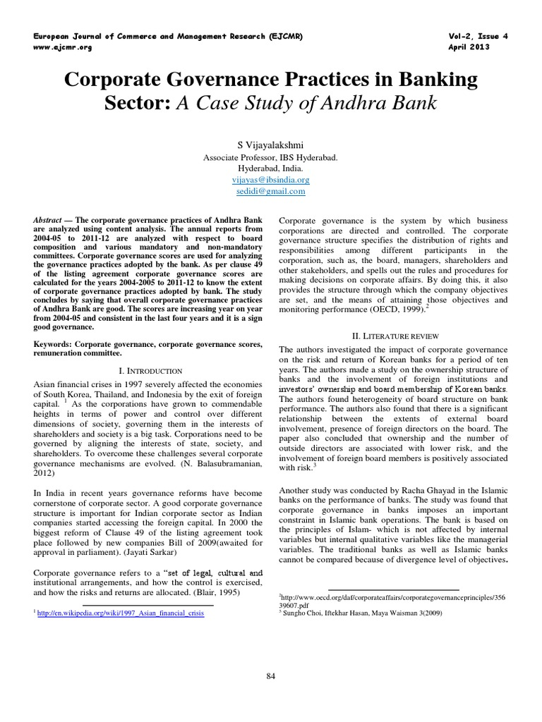 Corp Gov Case - Andhra Bank | Corporate Governance | Governance