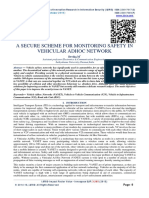 A SECURE SCHEME FOR MONITORING SAFETY IN VEHICULAR ADHOC NETWORK