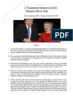 The U.S. Presidential Election of 2016 Reasons Not to Vote