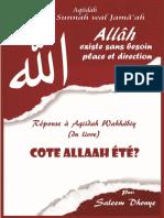 Allah Existe Sans besoin Place et direction - reponse