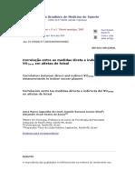 Correlacao medidas direta indireta VO² futsal