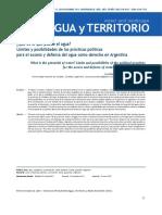 ¿Qué es lo que puede el agua? Límites y posibilidades de las prácticas políticas para el acceso y defensa del agua como derecho en Argentina Silvina Cecilia Carrizo, Mauricio Berger