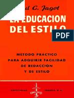 La Educación Del Estilo - Paul C. Jagot