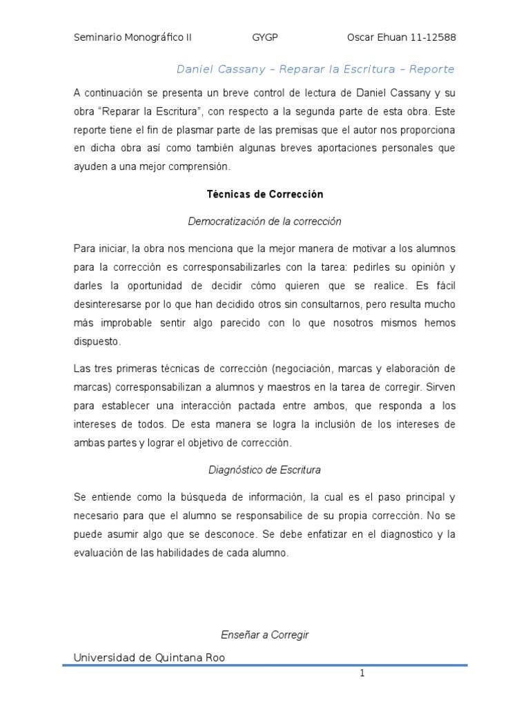Reporte De Lectura - Daniel Cassany