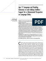 Age 17 Langauge and Reading Outcomes in Late Talkers