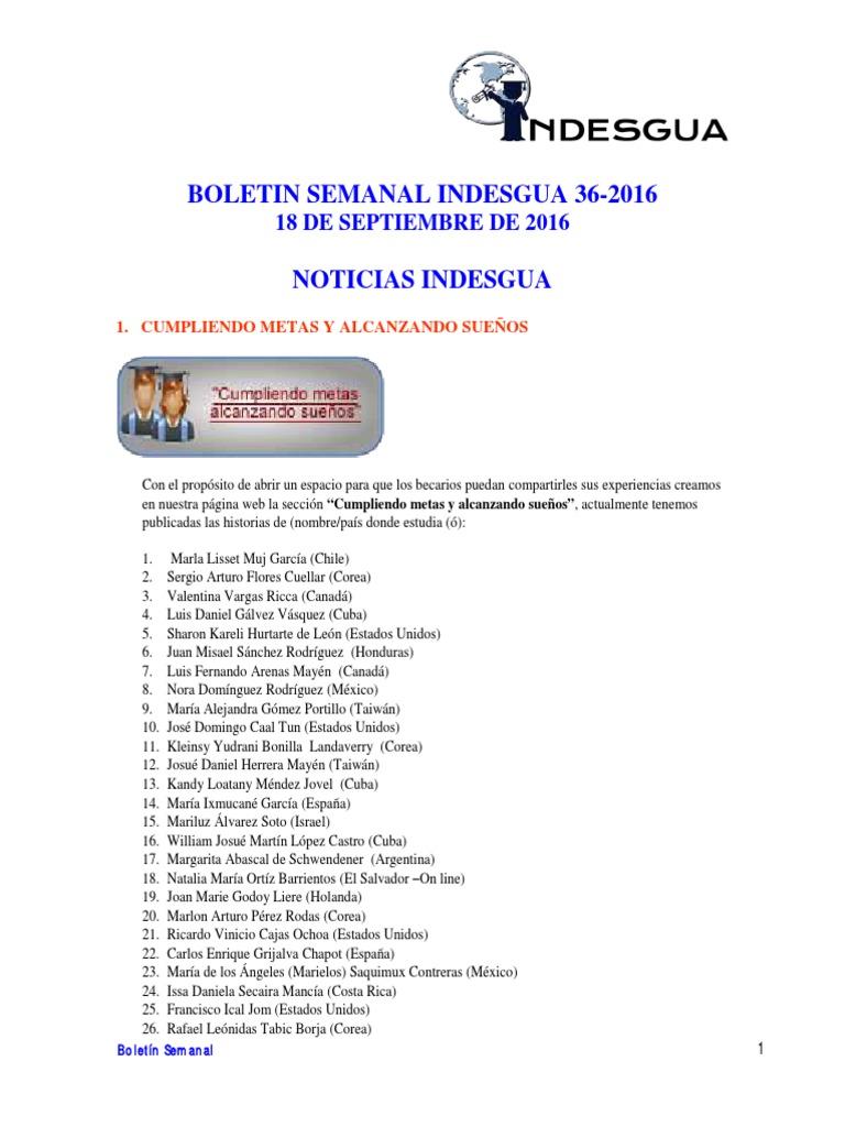Boletin Semanal Indesgua 36-2016 - Convocatorias Abiertas Al 18 de ...