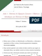 Aula 1 - Int. Sist. Eq. Lineares