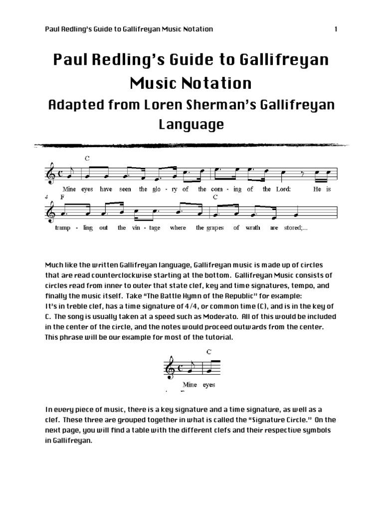 Gallifreyan Musicpdf Musical Notation Clef