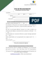 Carta de Recomendación y Actualización Del Guía Mayor y Líder I. Avent.