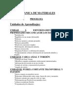 Mecanica de Materiales Unidad i 21092016