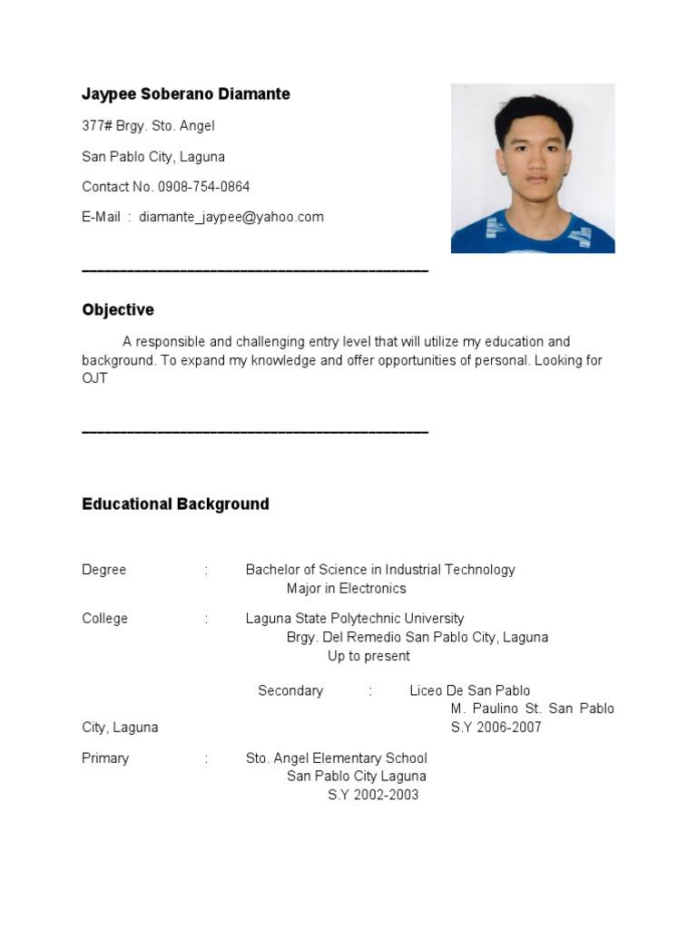 sample resume for ojt students