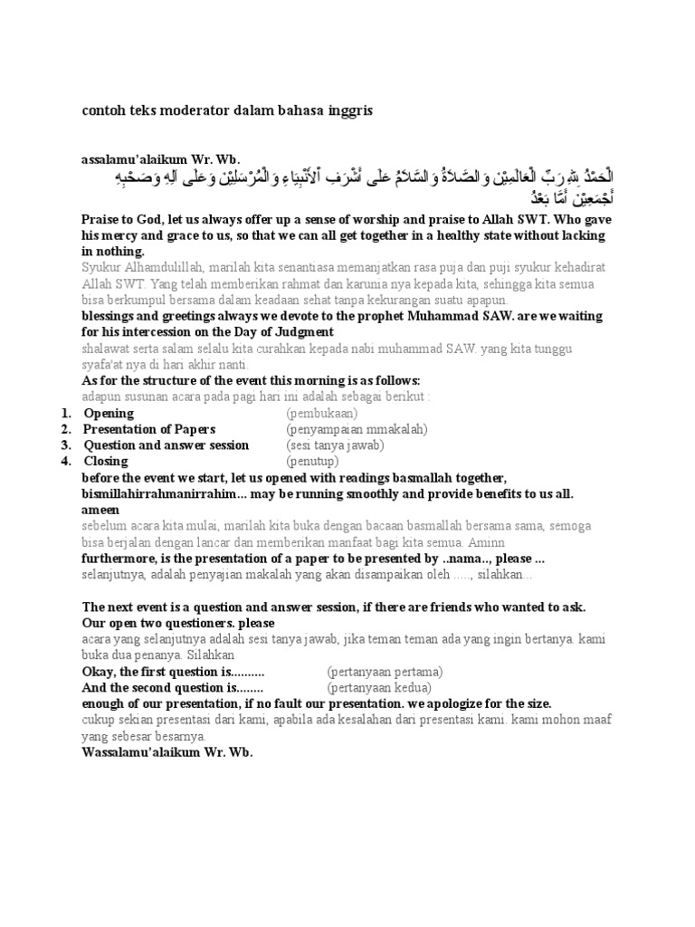 Contoh Teks Moderator Dalam Bahasa Inggris Teisme Mitologi
