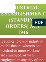 Industrial Establishment Standing Orders Act 1946