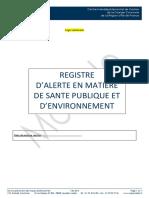 Modèle de Registre d'Alerte en Matiere de Sante Publique Et d'Environnement