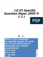 Level-II VT Specific Question Paper (AWS D