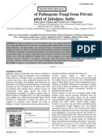 Epidemiology of Pathogenic Fungi from Private Hospital of Jabalpur, India