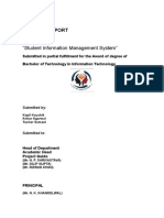 Project Report on Student Information Management System Php