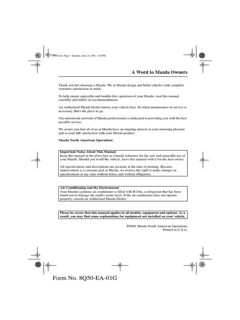 mazda 626 owners manual 2002 airbag seat belt