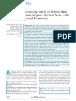 Studie Proliferation Promoting Effect of PRP on Human Adipose Derived Stem Cells and Human Dermal Fibroblasts
