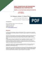 Transtornos Cognitivos en Pacientes Con Enfermedad de Huntington
