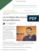 """""""Los 14 Hábitos Más Comunes De Los Millonarios"""""""