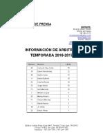 INFORMACIÓN DE ARBITROS