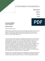 Motivation Letter Sample for Master in Medicine