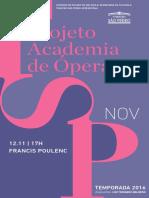 Programa de Sala   Academia de Ópera   Francis Poulenc (novembro)