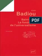 Alain Badiou Saint Paul La Fondation de L universalisme