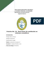 Práctica No. 10. Reacciones de Sustitución en Sistemas Aromáticos