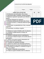 Pauta de Evaluación de Debate x16