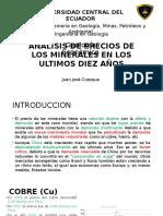 Analisis de Precios de Los Minerales en Los ultimos 10 años